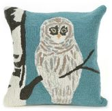 Liora Manné Frontporch Square Snowy Owl Throw Pillow in Blue