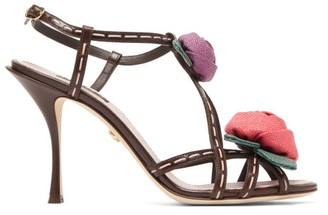 Dolce & Gabbana Keira Rose-applique Leather Sandals - Womens - Brown Multi