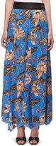 Loewe Floral-Print Maxi Skirt w/Leather Waist, Blue Pattern