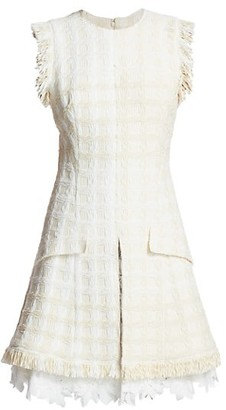 Oscar de la Renta Fringe Tweed A-Line Dress