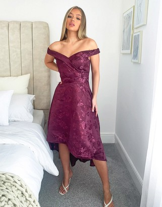 Chi Chi London bardot high low midi dress in berry