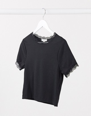 Brave Soul kaiko t-shrit with lace trim in black