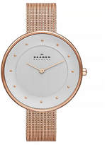 Skagen Klassic rose gold tone mesh Glitter watch.