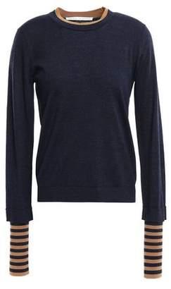 Veronica Beard Avory Layered Merino Wool-blend Sweater