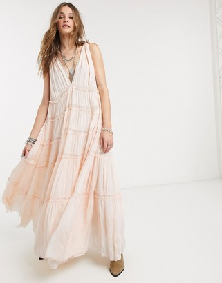 Free People valley tiered midi dress in peach