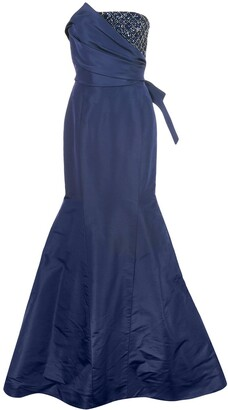 Carolina Herrera Embellished Bodice Strapless Trumpet Gown