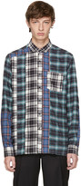 Lanvin Blue & Black Flannel Multi Check Shirt