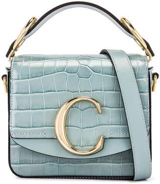Chloé Mini C Embossed Croc Box Bag in Faded Blue | FWRD