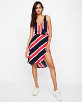 Express striped wrap midi dress