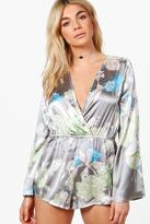 boohoo Marie Satin Cross Front Bell Sleeve Teddy grey