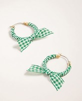 Ann Taylor Gingham Bow Hoop Earrings