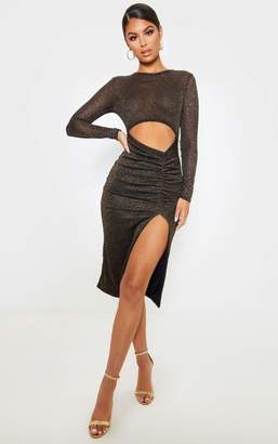 PrettyLittleThing Silver Sheer Glitter Long Sleeve Cut Out Midi Dress