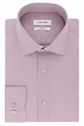 Calvin Klein Men's Dress Shirts Non Iron Stretch Regular Fit Check