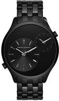 Armani Exchange Dual Time Black-Plated Stainless Steel Bracelet Watch