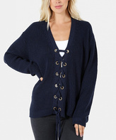 Jane Navy Lace-Up Ribbed Dolman Sweater