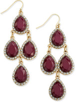 INC International Concepts Gold-Tone Wine Stone and Pavé Chandelier Earrings, Only at Macy's