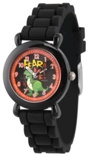 EWatchFactory Boy's Disney Toy Story 4 Rex Black Plastic Time Teacher Strap Watch 32mm
