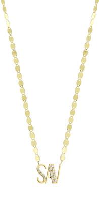Lana Gold Personalized Three-Letter Pendant Necklace w/ Diamonds