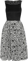 Holly Fulton Embellished wool and printed silk-crepe dress
