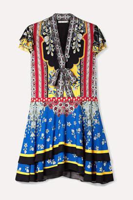 Alice + Olivia Alice Olivia - Moore Printed Crepe Mini Dress - Blue