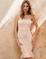 Lipsy Lace Overlay Bandeau Frill Hem Dress