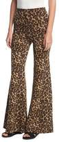 Rosetta Getty Leopard Fitted Flare-Leg Trousers