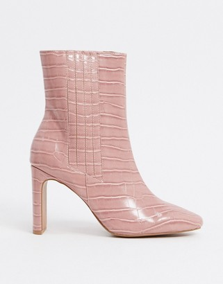 ASOS DESIGN Embark high ankle boots in pink croc