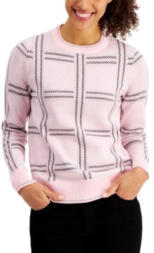 Charter Club Plaid Crewneck Sweater, Created for Macy's
