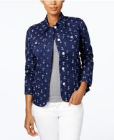 Charter Club Printed Denim Jacket, Only at Macy's