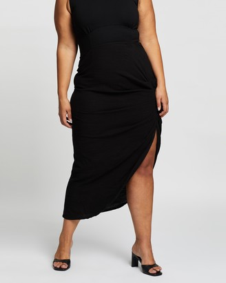 Atmos & Here Atmos&Here Curvy - Women's Black Midi Skirts - Elie Ruched Skirt - Size 18 at The Iconic