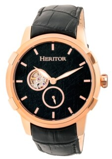 Heritor Automatic Callisto Rose Gold & Black Leather Watches 45mm