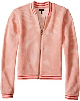 Ikks Mesh Letterman-Style Jacket with Sequined K Patch on Chest & Zipper Front (Little Kids/Big Kids)