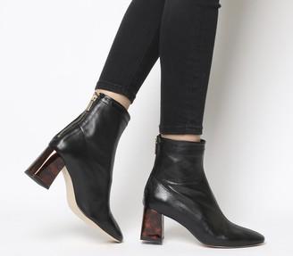 Office All Day Back Zip Block Heel Boots Black Leather Tortoiseshell Heel