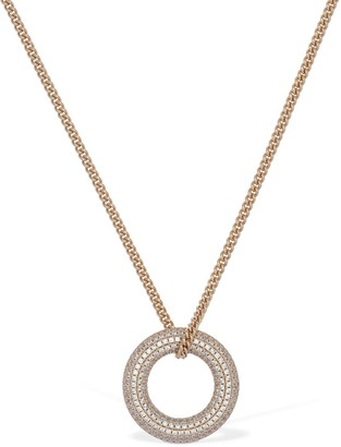 Jil Sander Long Chain Necklace W/ Crystal Ring