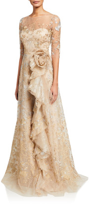 Rickie Freeman For Teri Jon Metallic Lace Elbow-Sleeve Side-Ruffle A-Line Gown