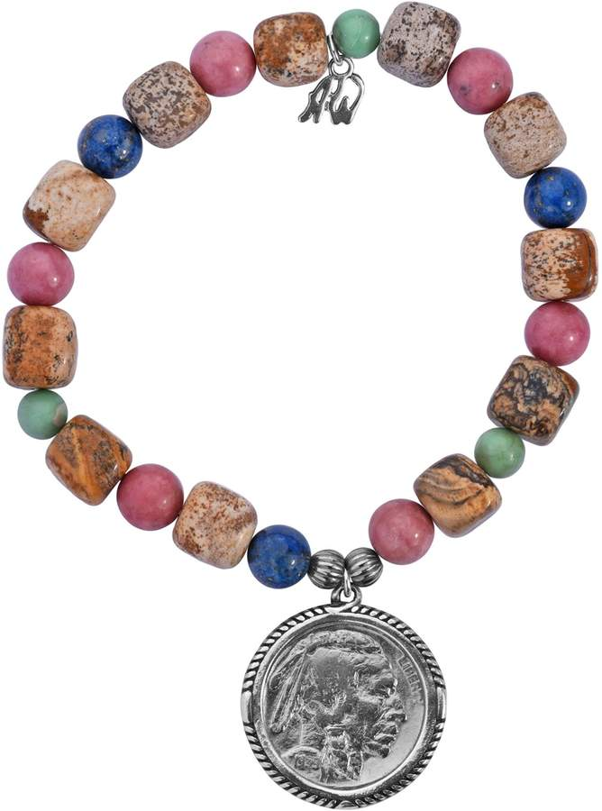 American West Sterling Nickel Coin Gemstone Stretch Bracelet