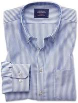 Extra Slim Fit Button-Down Non-Iron Oxford Bengal Stripe Royal Blue Cotton Casual Shirt Single Cuff Size XL by Charles Tyrwhitt