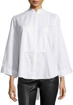 BCBGMAXAZRIA Tuxedo Bib Poplin Shirt, White