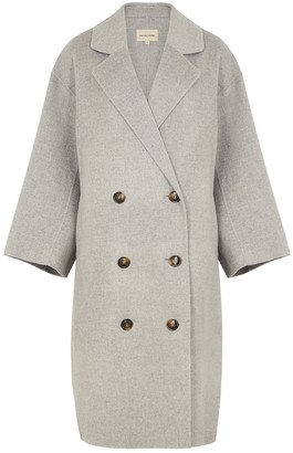 LOULOU STUDIO Borneo Grey Double-breasted Wool-blend Coat