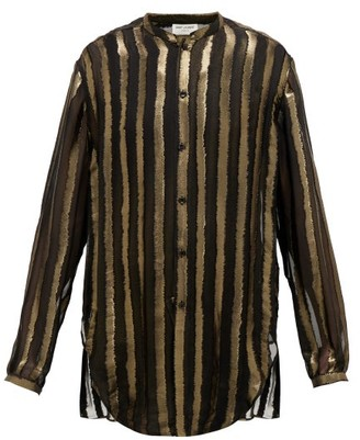 Saint Laurent Metallic Striped Silk-blend Organza Shirt - Black Gold