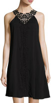Neiman Marcus Crochet-Yoke Woven Dress, Onyx