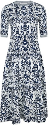 Valentino Floral-jacquard stretch-knit midi dress