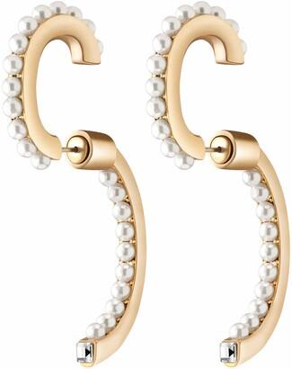 DEMARSON Convertible Imitation Pearl Hoop Earrings