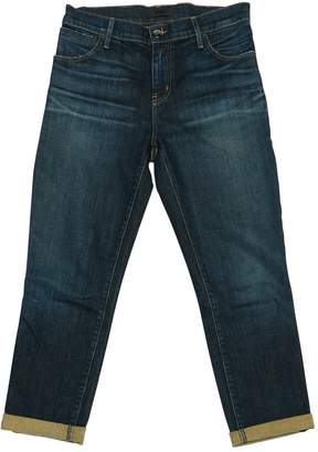Koral Blue Cotton Jeans for Women