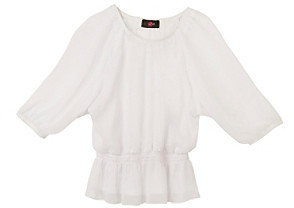 Amy Byer Girls' 7-16 White Peasant Top