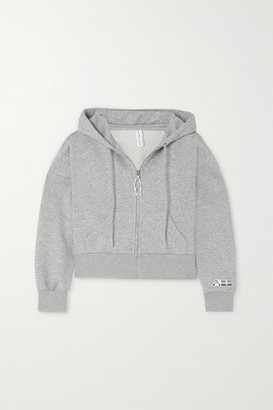 Adam Selman Sport Melange Cotton-blend Jersey Hoodie - Gray