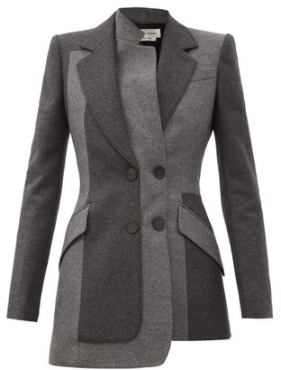 Alexander McQueen Asymmetric Felted-wool Double-breasted Jacket - Grey