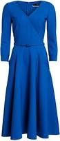 Oscar de la Renta Three-Quarter Sleeve Belted Midi A-Line Dress