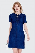 Select Fashion Fashion Lace Up Denim Tunic Dress Dresses - size 6