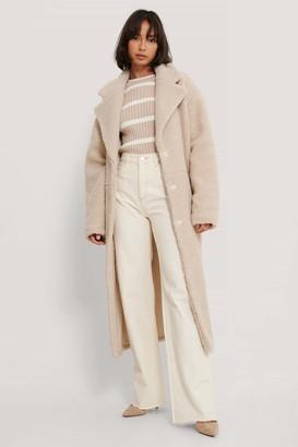 NA-KD Oversized Long Teddy Coat
